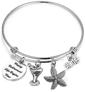 bobauna Retirement Gift Happy Retirement Expandable Wire Bangle Bracelet Thank You Gift for Mother Teacher Nurse