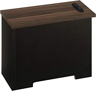 ぼん家具 ケーブルボックス コンセントカバー トラッキング防止 角置き 小タイプ ウォールナット×ブラック