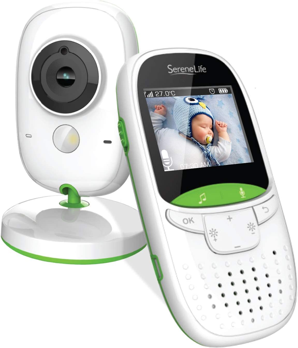 """SereneLife USA Video Baby Monitor - Upgraded 850' Wireless Long Range Camera, Night Vision, Temperature Monitoring and Portable 2"""" Color Screen with Clip - SLBCAM10.5, Green"""
