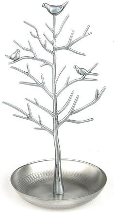 Pasutewel ジュエリーホルダー ディスプレイスタンド ジュエリーラック オーガナイザー 小物入れ アンティーク風 ジュエリースタンド イヤリング ネックレス アンティーク 飾り棚 インテリア キャンディ入れ 小鳥ツリー (シルバー)