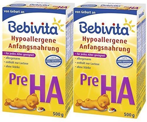 Bebivita Pre HA, hypoallergene melk - vanaf de geboorte, 2-pack (2 x 500 g)