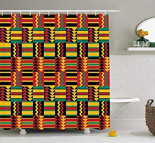 JOOCAR Design Duschvorhang, Kente Muster Ethno-Muster Streifen Dreiecke Zickzack Uganda Simbabwe Nigeria Tuch Mehrfarbig, wasserdichter Stoff Stoff Badezimmer Dekor Set mit Haken