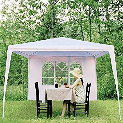 KOVOL Outdoor Canopy Tent 3 x 3m with 4 Removable Side Waterproof Tent with Spiral Tubes White