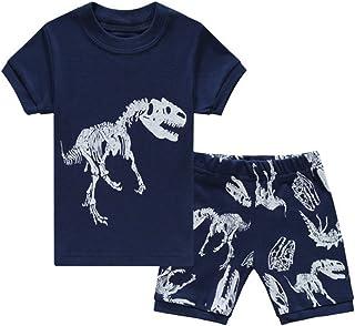 da 2 Anni Fino a 7 Anni Babyfashion Pigiama Pantaloncini 2 Pezzi di Dinosauro Azzurro Sia Par Bambino Sia per Ragazzo Sono 100/% di Cotone