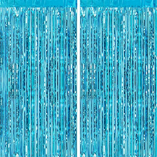 CHRORINE 2pcs 1m x 2.5m Light Blue Metallic Tinsel Foil Fringe Curtains Party Streamers Backdrop for Frozen Mermaid Birthday Baby Shower Bachelorette Bridal Shower Blue Party Decorations