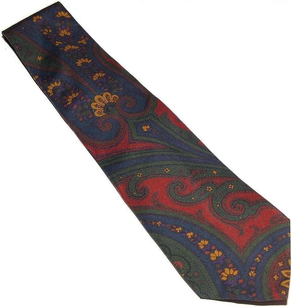 Ralph Lauren Purple Label Mens Blue Green Red Paisley Polo Silk Tie Italy $235