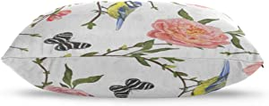 "Yagqiny Large Pillowcovers Floral Birds Painted 100% Cotton Reversible Zipper Standard Size (20""x 30"") Standard Pillowcases Cartoon Pillowcase Cotton Pillowcases Standard"