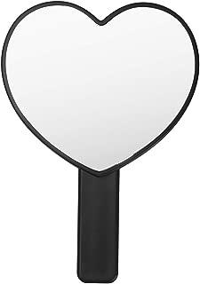 XIAOSHIGUANGGAO Cute Heart Shaped Hand Mirror (Black)