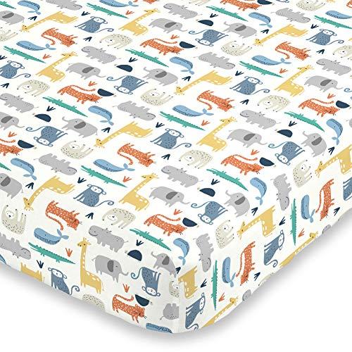 Carter's Colorful Modern Safari Animals Super Soft Mini Crib Fitted Sheet, Orange, Green, Blue, Grey