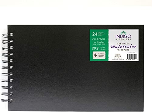 Indigo Art Papers WaterColor Wiro Pad, 24 Cotton Sheets, 6X9X2 inches, 300GSM (CO30069CPWP)