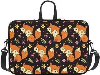 Cartoon Animal Fox Floral Flower Pattern Pattern Briefcase Laptop Bag Messenger Shoulder Work Bag Crossbody Handbag for Business Travelling