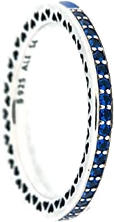 Pandora Women's Blue Radiant Hearts of Ring, Size 48 Jewelry 191011NCB-48
