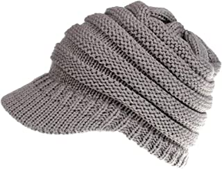 Wiwsi Cable Knit Lined Headband Ear Warmer Ponytail Beanie Hats for Women Men