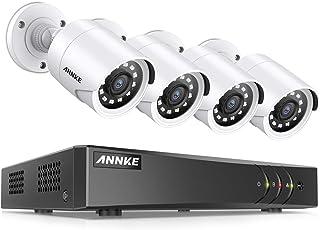ANNKE Kit Sistema de Seguridad CCTV Cámara de vigilancia Luz de estrella 8CH 3MP H.265+ DVR con 4 Cámaras 1080P IP66 Impermeable Visión nocturna No-Ruido Alerta por correo electrónico con instantáneas