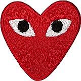 Bestickter roter Aufnäher mit Herzaugen, zum Aufbügeln oder Aufnähen