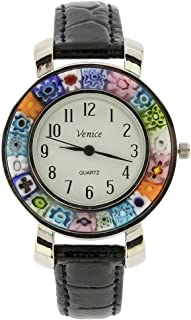 GlassOfVenice Serena Murano Millefiori Watch with Leather Band - Black