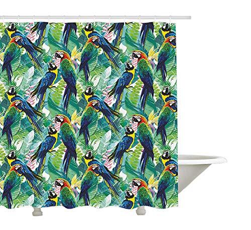 Yeuss Papageien-Dekor-Sammlung, Bunte Papageien & Tropische Blumen-warme Wetter-Garten-Ferien-reisendes Bild, Polyester-Gewebe-Badezimmer-Duschvorhang, blaues Grün-Gelb