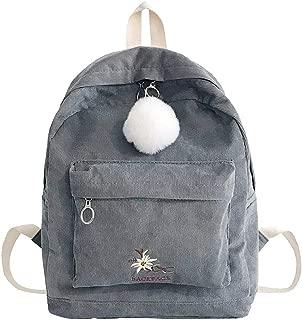 Kwok Women Bag Fashion Girl Corduroy School Bag Backpack Hairball Women Travel Shoulder Bag Crossbody Bag Messenger Bag Leisure Bag