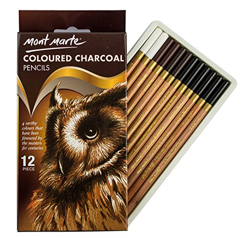 MONT MARTE Lapices Carboncillo de Color - 12 piezas - Carboncillo para el arte - Lápices de dibujo, plumas de artista - Ideal para dibujos impresionantes - Perfecto para Principiantes, Profesionales