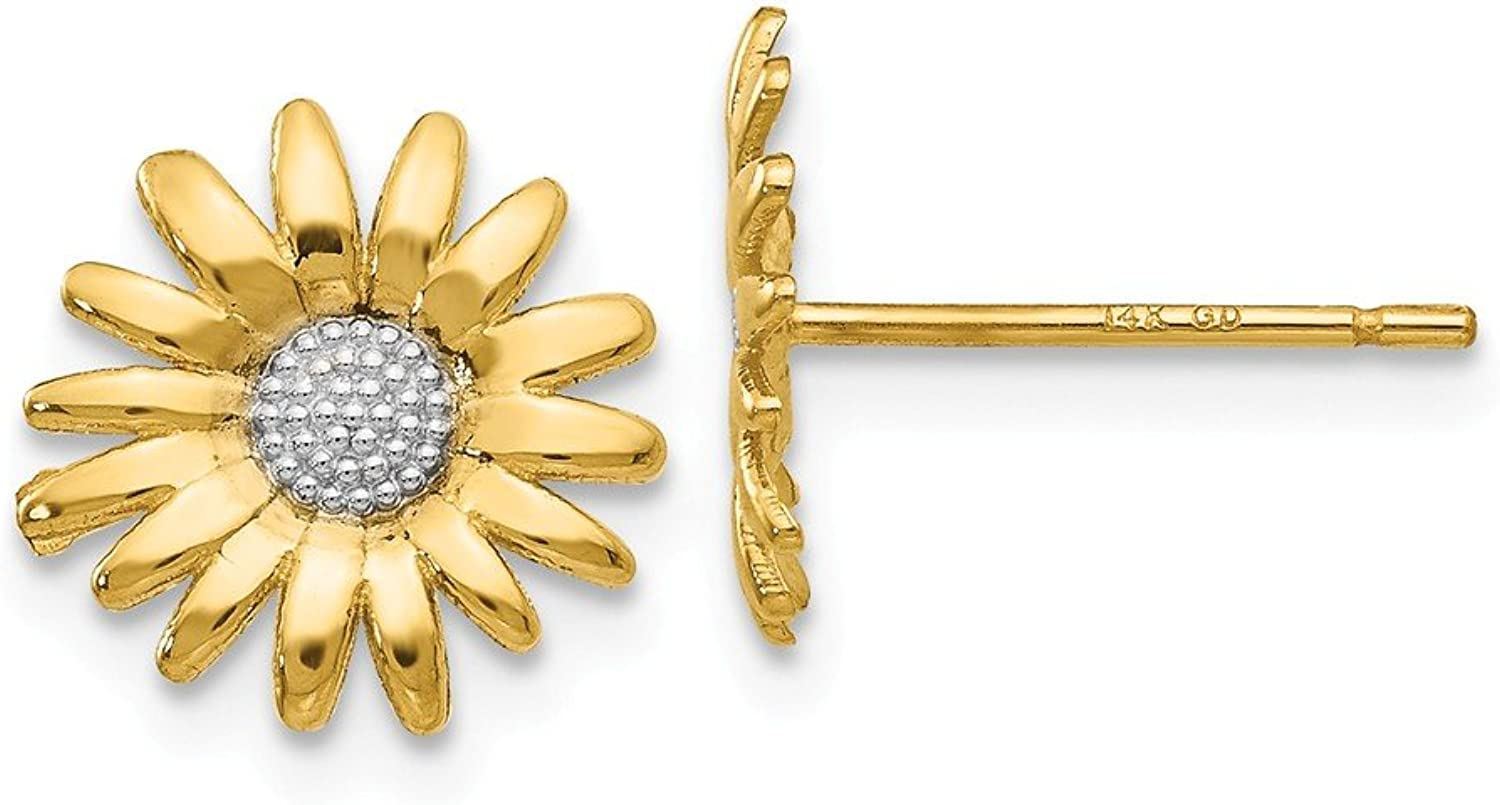 Beautiful rhodium plated gold and silver 14K rhodiumplatedgoldandsilver 14k & Rhodium Mini Daisy Post Earrings