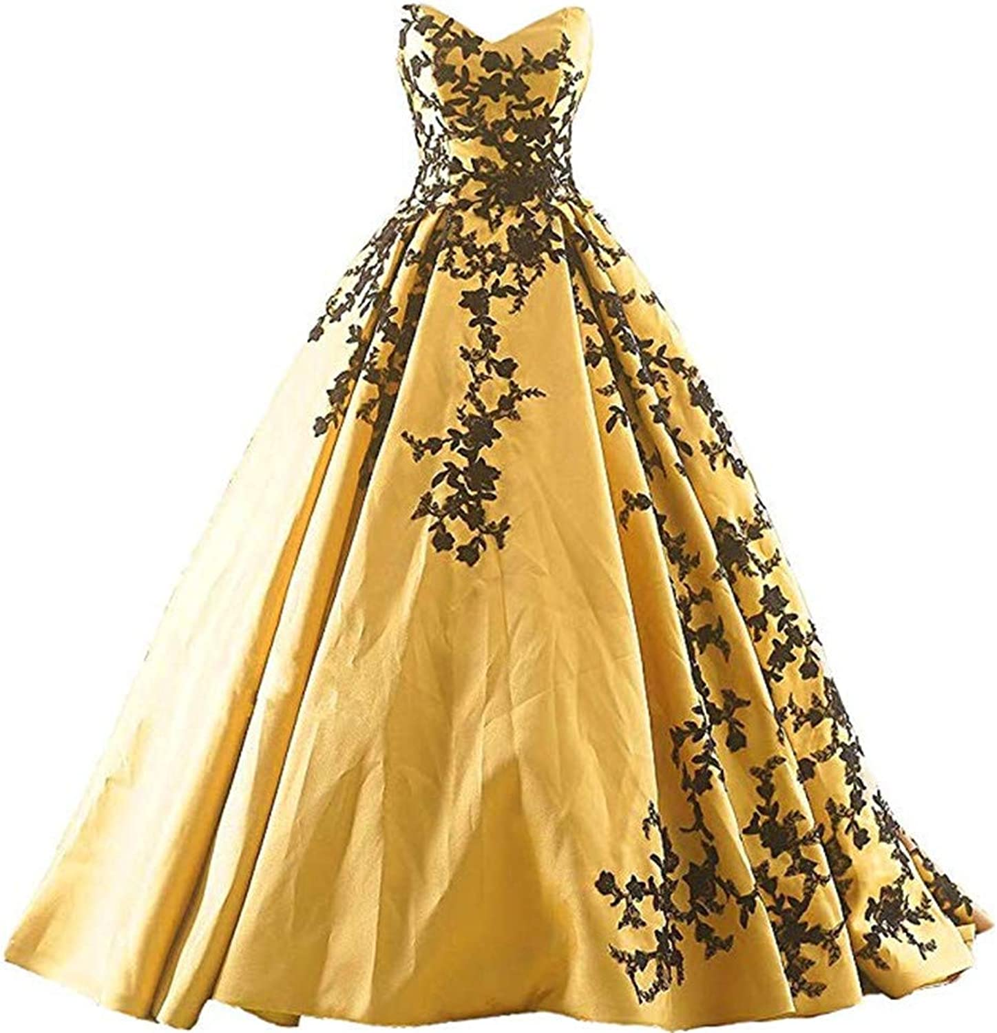 Ball Gowns for Women Open Back Satin Prom Dresses Long Appliques
