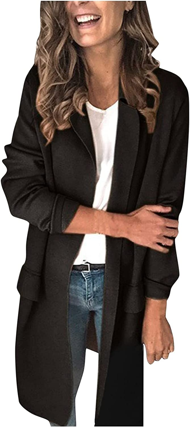 Business Casual Blazers for Women Long Open Front Cardigan Top Stitching Pocket Work Office Jacket Coat