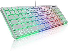 Guanwen Gaming Mechanical Feel Keyboard, Ultra-Thin Wired Multimedia Rainbow Breathing Backlight Ergonómico USB Game Keyboard para PC Portátil/Computadora