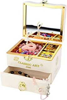 Ohwens Jewelry Box and Music Box for Girls Dancing Ballet Vintage Melody Jewelry Storage Drawer with Makeup Mirror a Great Toy for a 5 Year Old Girl or First Jewelry Box for Little Girls