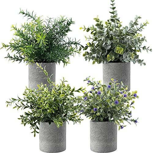 Juego de 4 plantas artificiales de hierba verde, planta artificial de romero, lavanda, eucalipto artificial, para casa, oficina, baño, cocina y decoración al aire libre