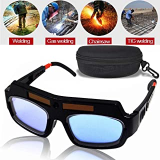 LEATBUY Welding Glasses Mask Helmet Eyes Goggles, Solar Auto Darkening Welding Goggle Safety Protective Eyes Goggle, Professional PC Lens Welder Soldering Mask Anti-Flog Anti-Glare Goggles