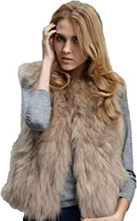 Edary Women's Fashion Faux Fur Vest Autumn and Winter Waistcoat Fur Sleeveless Vest Jacket for Women