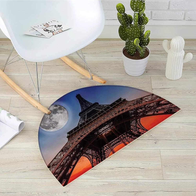 Eiffel Tower Semicircular CushionFull Moon Night Sky Dusk Digital Style Minimal French Flag Eiffel Tower Digital Entry Door Mat H 31.5  xD 47.2  Navy Red