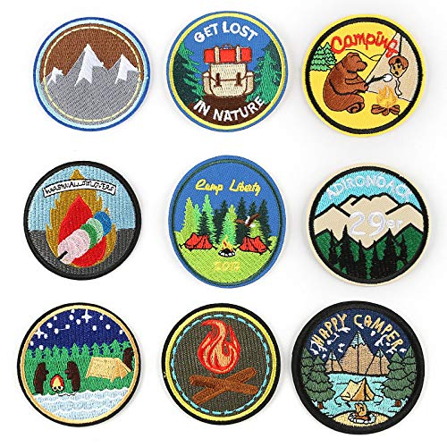 Iron on Patche/Sewing Patch,Embroidery Applique,Suitable for Hats,T-Shirts,Coats,Jackets,Pants,Shoes,suitcases,Backpacks,9pcs Styles: Round Animals Landscapes