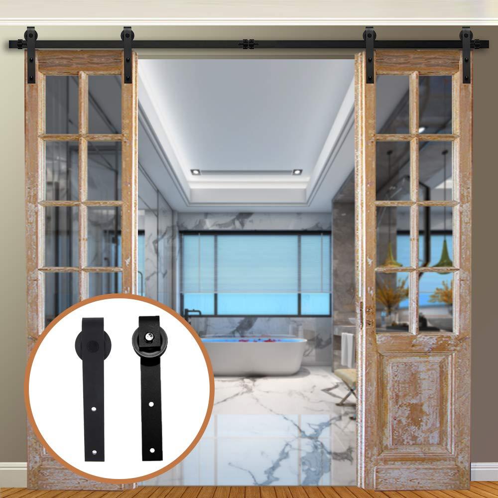 LWZH 17FT/518cm Herraje para Puerta Corredera Kit para Puertas Dobles,Negro J-Forma: Amazon.es: Bricolaje y herramientas