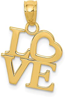 14k Yellow Gold Love Pendant Charm Necklace S/love Message Fine Jewelry For Women