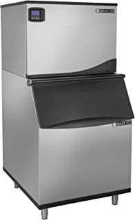 Maxx Ice MIM370N-B470 Commercial 30 Inch Wide Stainless Steel Modular Clear Ice Maker Machine Cuber with 470 Pound Ice Storage Bin Digital Diagnostic Controller LED Light, 370 Pounds Per Day Full Dice