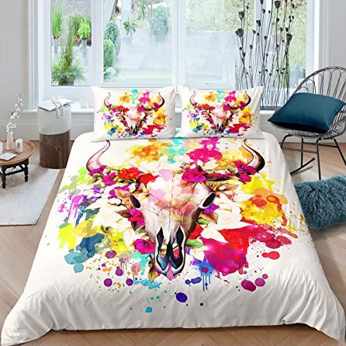 Juego de ropa de cama con diseño de calavera de toro, bohemio, floral, funda de edredón para niños y niñas y mujeres, funda de edredón con 1 funda de almohada, 2 piezas de ropa de cama individual