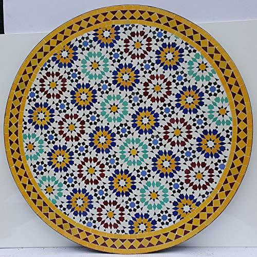 Casa Moro Marokkanischer Mosaiktisch Ankabut Gelb Ø 100cm rund mit Gestell H 73 cm Kunsthandwerk aus Marrakesch | Mediterraner Gartentisch Esstisch Balkontisch Bistrotisch MT2223