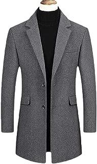 Men's Winter Warm Lapel Single Breasted Long Sleeve Casual Trench Coat Overcoat Outwears