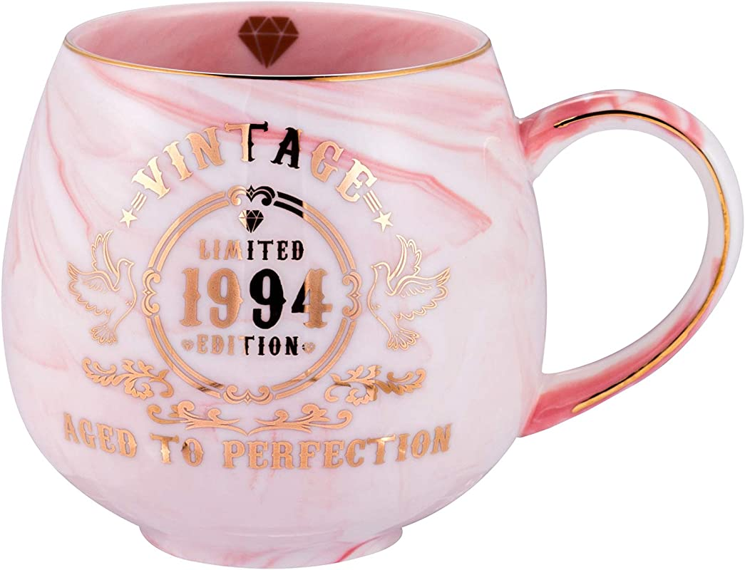 25th Birthday Gifts For Women Men Vintage 1994 Aged To Perfection Ceramic Marble Mug 25th Anniversary Gifts For Husband Wife Mom Dad Pink Ceramic Marble Mug 15 Oz