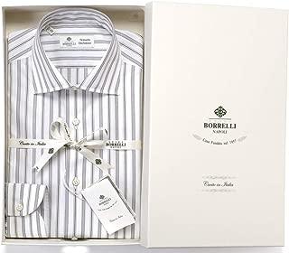 ルイジボレッリ ルイジボレリ LUIGI BORRELLI / 20SS!コットンポプリンストライプセミワイドカラーシャツ「LUCIANO(9396)」 (ホワイト×ネイビー×ベージュ) メンズ
