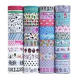 Set di 40 rotoli di nastro adesivo Washi per lavori di artigianato, abbellire diari proiettili,...