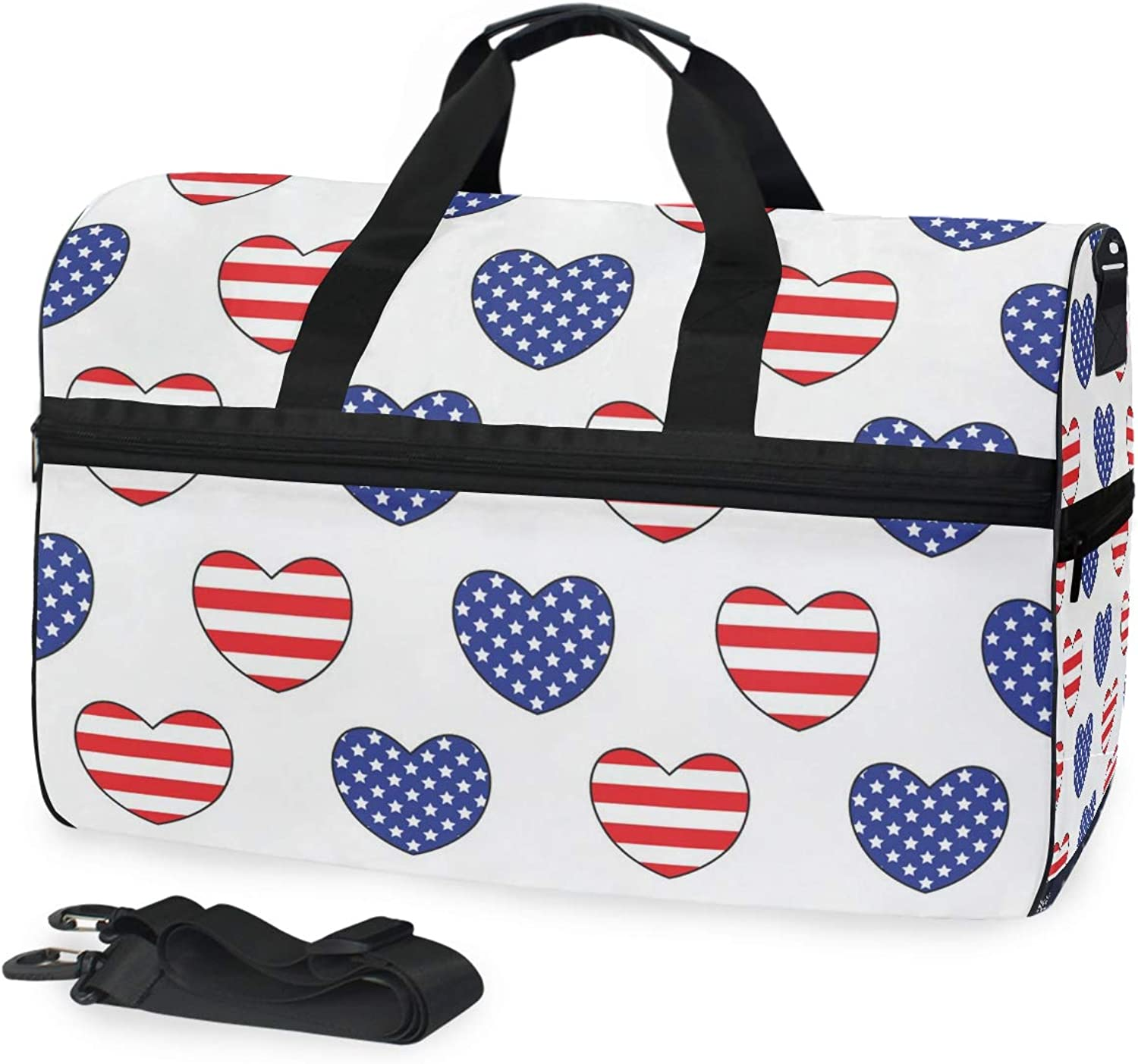 Hearts with The United States Flags color Large Travel Duffel Tote Bag Weekend Overnight Travel Bag Gym Bag Fitness Sports Bag with shoes Compartment