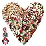 Anyasen Bottoni Colorati per Decorare 300 Pezzi Modello Misto Bottoni in Legno Rotondo Vintage con 2 Fori per Cucito Fai da Te Decorativo Artigianato Scrapbooking 15mm 20mm 25mm
