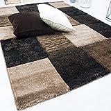 VIMODA Teppich Modern Patchwork Optik Kariert Meliert in Braun, Maße:80 x 150 cm - 2
