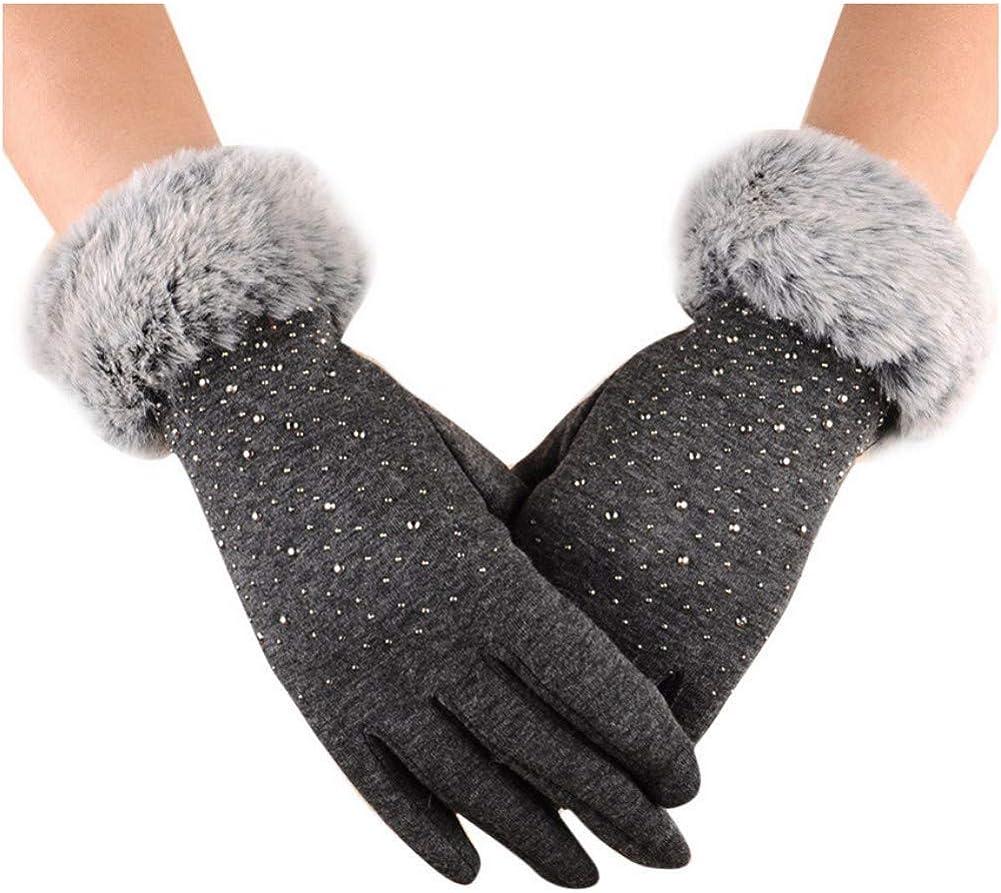 Women Touchscreen Fleece Lined Winter Gloves Luxurious Rhinestones Mittens with Rabbit Fur Cuffs