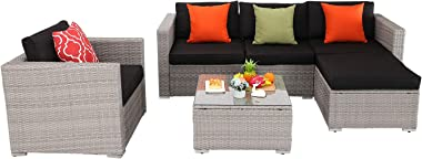 """HTTH 6 Pieces Outdoor Patio Wicker Furniture Sectional Sofa Set,All Weather PE Rattan Sofa with 4"""" Seat Cushions and Ottoman, Garden, Backyard, Pool,Black (Black)"""