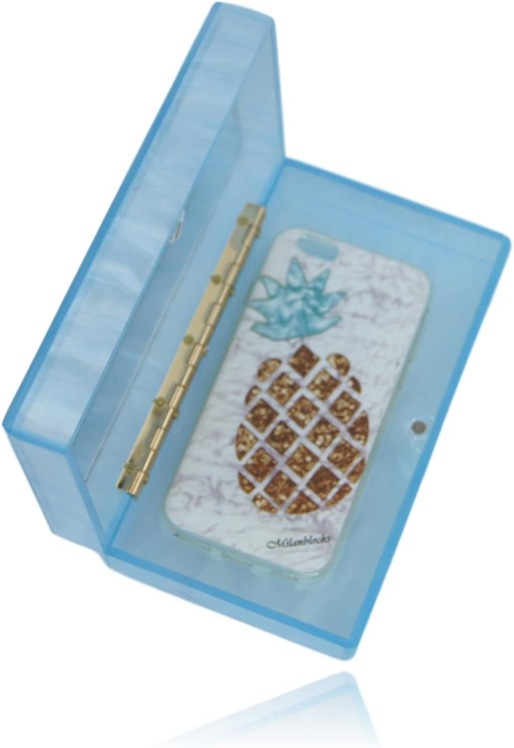 Baby bluee Acrylic Box Clutch with Mirror