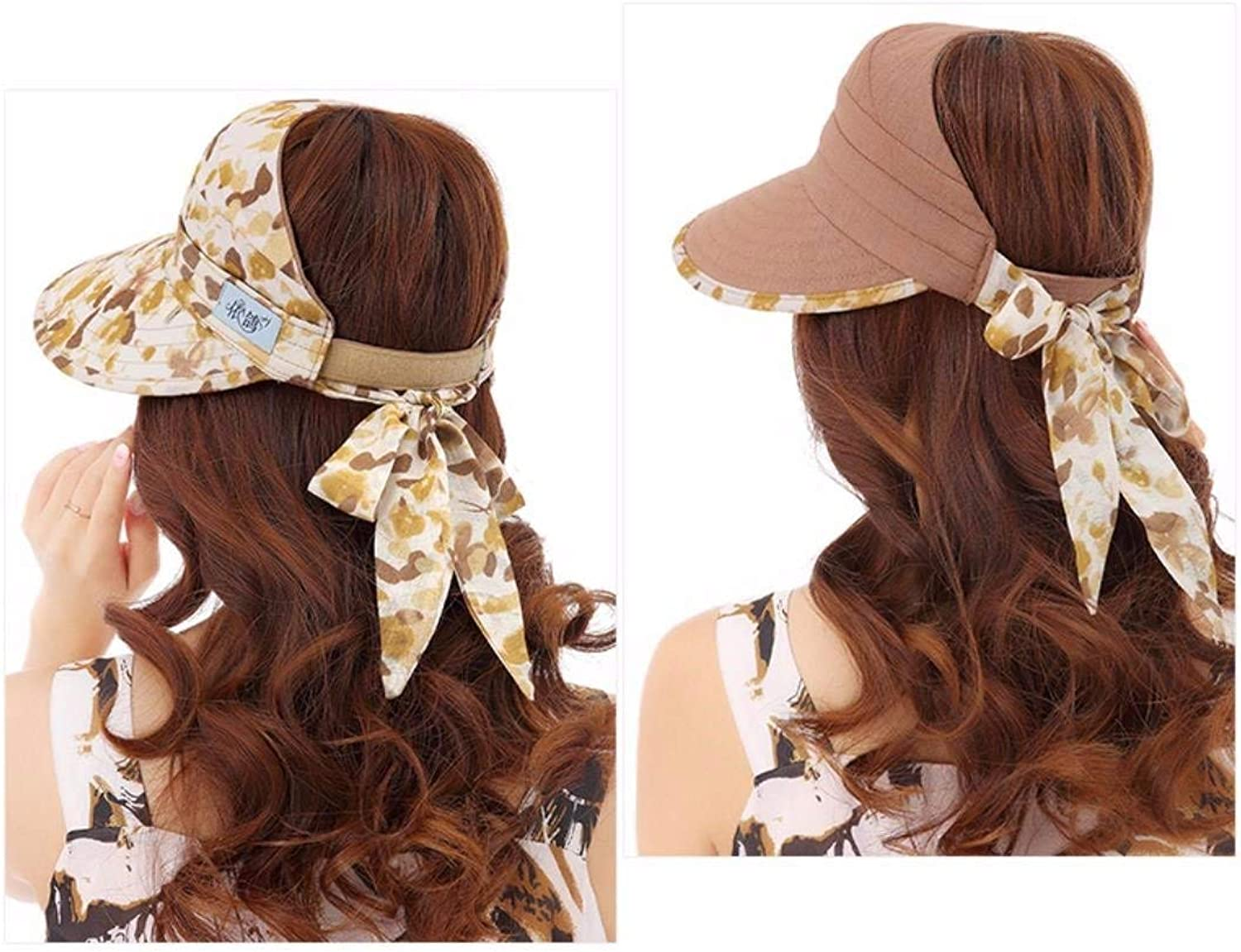 Beach Hat Shaded Empty top hat Girl top Cool Cap Summer Sun Hats Outdoor Cycling Beach hat Summer Sun Hat (color   Brown)
