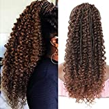 """Youthfee 18"""" Braided Out Deep Curly Easy Quick Fastening Wrap Around Ponytail with Tiny Faux Locs Braided Hair Extensions for Women Pretty Soft and Natural Looking Synthetic Hair Pieces"""